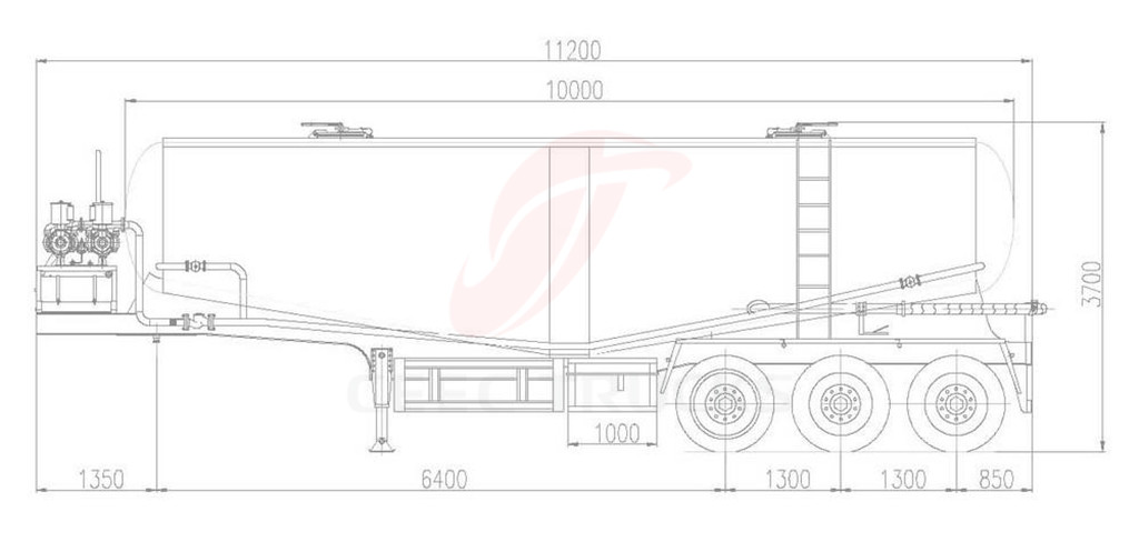 cement tanker truck technical drawing