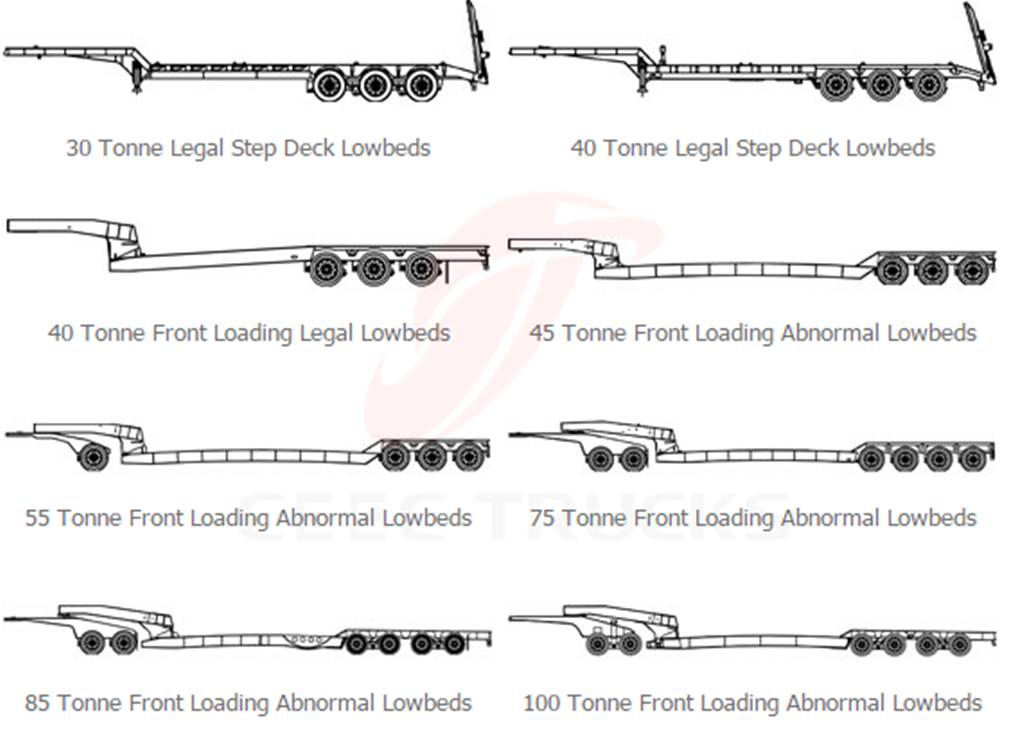 50T low flatbed semi trailer