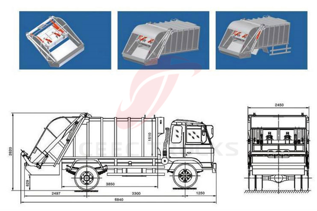 DFAC 4 CBM compactor garbage truck drawing dimension