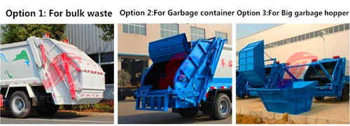 rear loading device for garbage compactor trucks