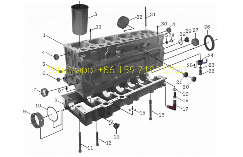 Beiben WD615 series engine assembly details