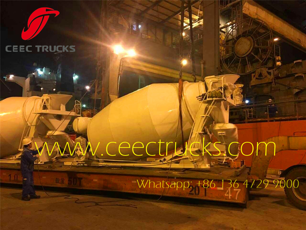 8CBM concrete mixer truck up body shanghai seaport loading