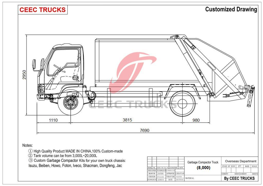 CEEC supply ISUZU 8cbm garbage compactor truck drawing