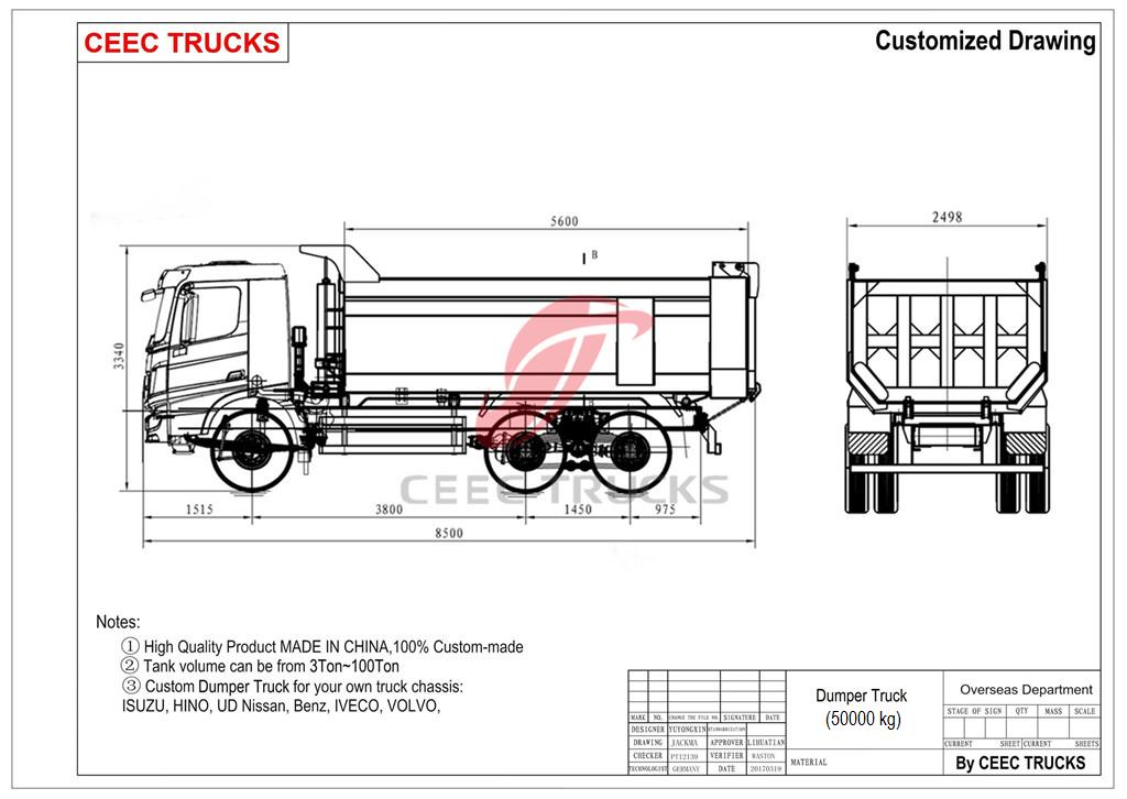 beiben dumper truck drawing dimension