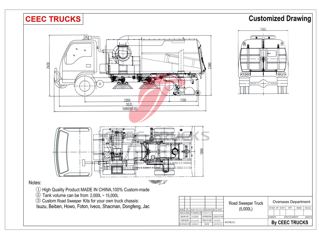 vacuum road sweeper truck drawing