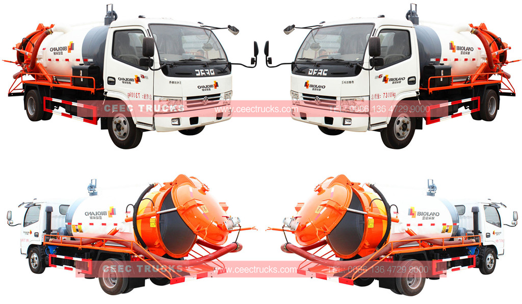 DONGFENG 4cbm vacuum sewage suction tanker truck
