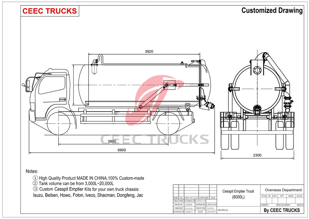 technical drawing for Dongfeng 6cbm cesspit emptier