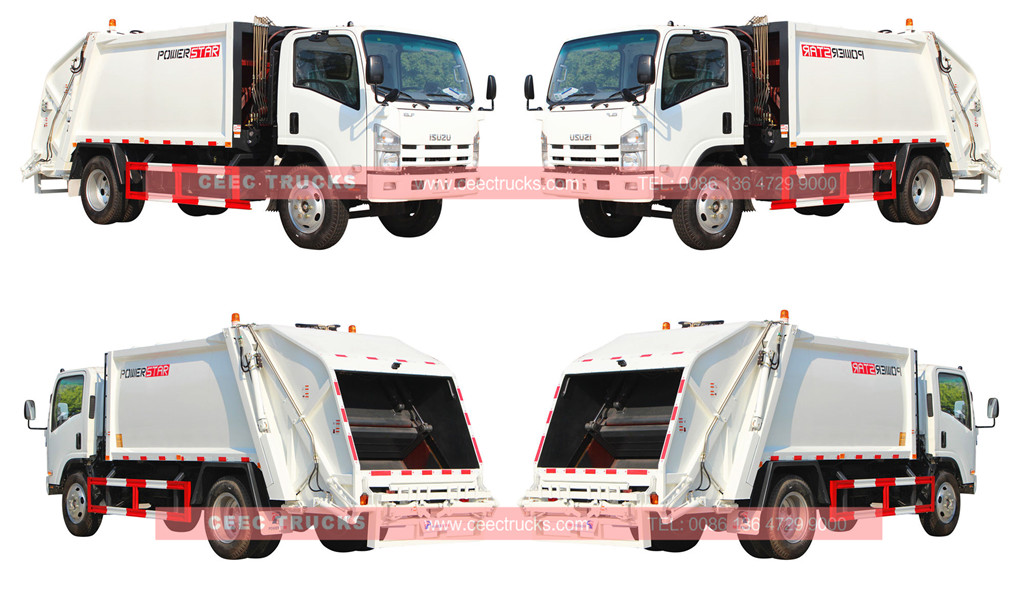 Исузу 8cbm garbage compactor truck wholeview