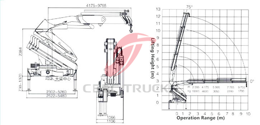 10Tons knuckle crane CAD drawing
