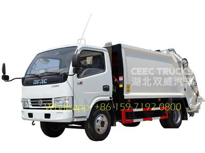 Manufacturer lowest price supply 5 CBM compressed garbage trucks Dongfeng