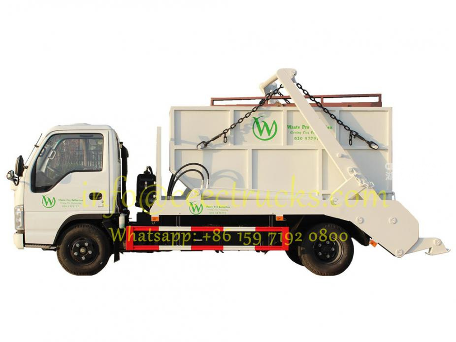 Manufacturer sale ISUZU 6CBM swing arm roll container refuse truck low price