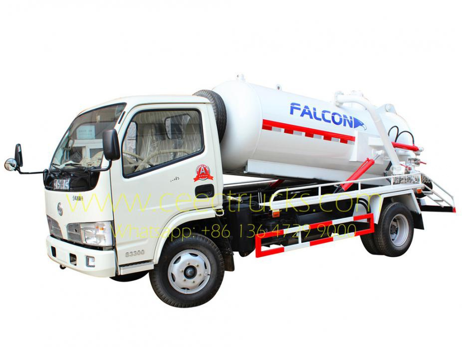 Low price Dongfeng 4,000L vacuum sewage suction truck